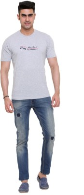 FAST TRACK Solid Men's Round Neck Grey T-Shirt