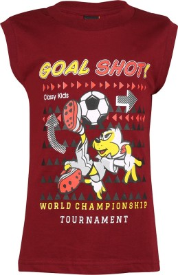 Meril Printed Baby Boy's Round Neck Maroon T-Shirt