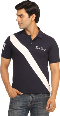 Rockhard Striped Men's Polo Neck Dark Blue T-Shirt