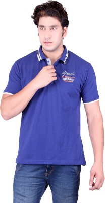 Numalo Solid Men's Polo Neck Blue T-Shirt