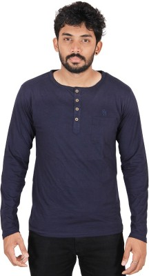 CHAGGIT Solid Men's Round Neck Dark Blue T-Shirt