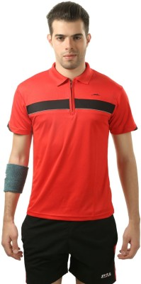 Stag Printed Men's Polo Neck Red, Black T-Shirt