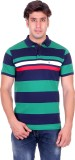 Venetian Striped Men's Polo Neck Dark Bl...