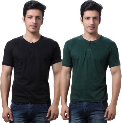 TeeMoods Solid Mens Henley Black, Dark Green T-Shirt