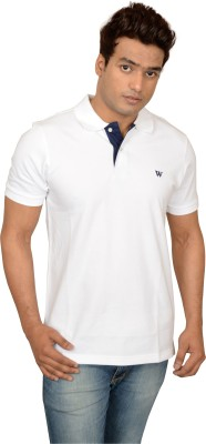 Woodside Solid Men's Polo White T-Shirt