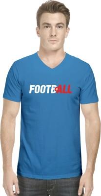 Hueman Printed Men's V-neck Blue T-Shirt