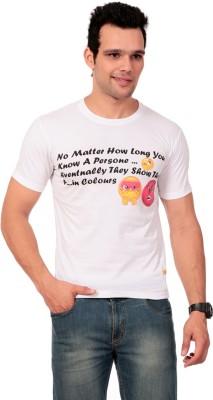 Texco Printed Men,s Round Neck White T-Shirt