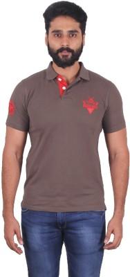 urbantouch Solid Men's Polo Neck Beige T-Shirt