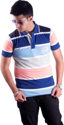 Protex Striped Men's Flap Collar Neck Multicolor T-Shirt