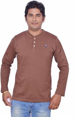 LEAF Solid Men's Henley Brown T-Shirt