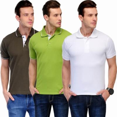 Scott International Solid Men's Polo Brown, White, Green T-Shirt
