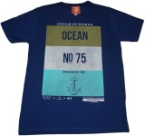 Rayon Printed Men's Round Neck Blue T-Sh...
