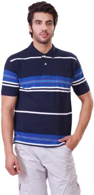 D-Green Striped Men's Polo Dark Blue T-Shirt
