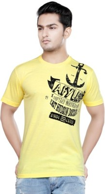 Afylish Printed Men's Round Neck Yellow T-Shirt