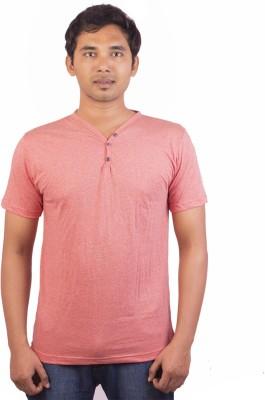 Indrow Self Design, Solid Men's V-neck Red T-Shirt