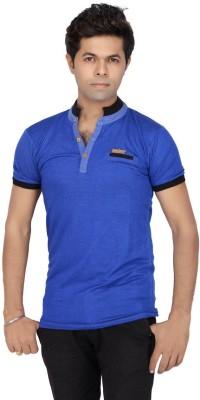 JG FORCEMAN Solid Men's Mock Neck Light Blue T-Shirt