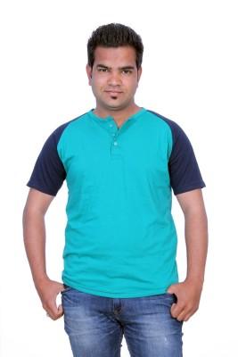 Martech Solid Men's Henley Green, Blue T-Shirt