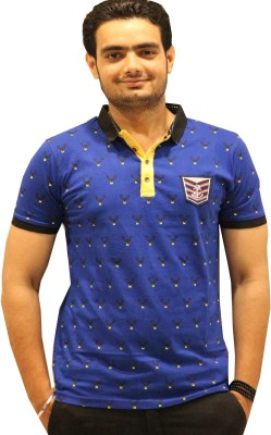GOPAL EMPORIUM Printed Men's Mandarin Collar Blue T-Shirt