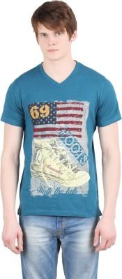 Moonwalker Printed Men's V-neck Light Blue T-Shirt