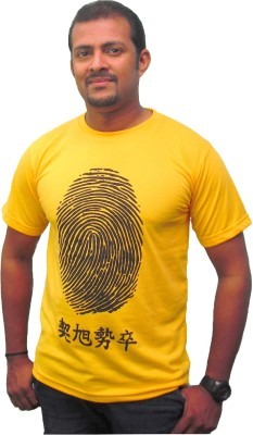 Zorba Mart Printed Men's Round Neck Yellow T-Shirt