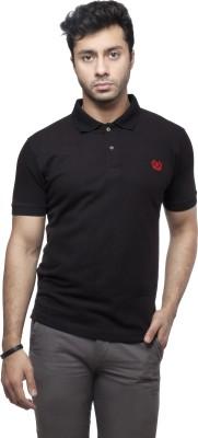 Peerage Solid Men's Polo Neck Black T-Shirt