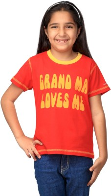 NautieCutie Printed Girl's Round Neck Orange T-Shirt