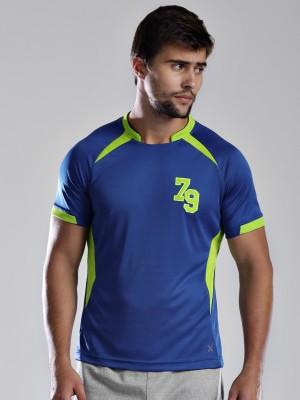 HRX Solid Men's Mandarin Collar Blue T-Shirt