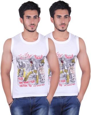 White Moon Printed Men's Round Neck White T-Shirt