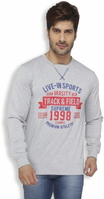 Live In Solid Men's Round Neck Grey T-Shirt
