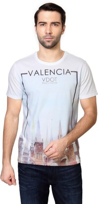 Van Heusen Printed Men's Round Neck White T-Shirt