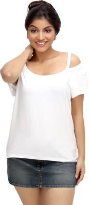 Loco En Cabeza Solid Women's Boat Neck White T-Shirt