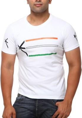 Yross Self Design Men's Round Neck White T-Shirt