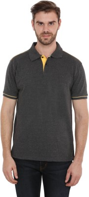 CNMN Solid Men's Polo Neck Grey T-Shirt