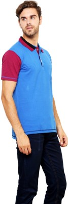 Lemon & Vodka Solid Men's Polo Neck Blue T-Shirt