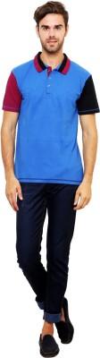 Lemon & Vodka Solid Men's Polo Neck Blue T-Shirt