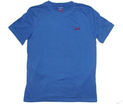 2swords Solid Men,s Round Neck Blue T-Shirt