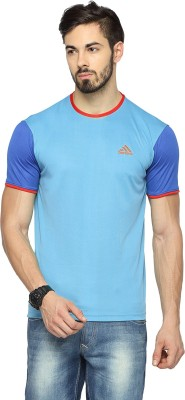 Canyons Solid Men's Round Neck Light Blue T-Shirt