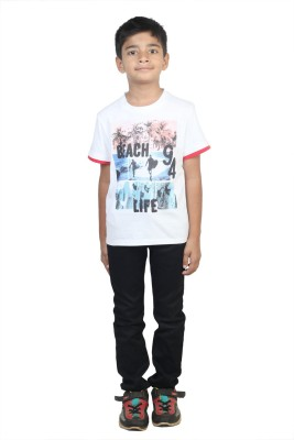 STOP by Shoppers Stop Printed Boy,s Round Neck White T-Shirt