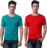 TeeMoods Solid Men's Henley Red, Green T...
