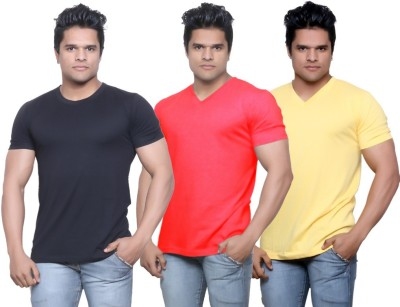 IndiStar Solid Men's Fashion Neck Black, Red, Yellow T-Shirt