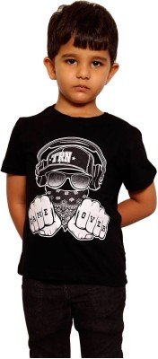 Parv Collections Printed Boy,s Round Neck Reversible Black T-Shirt