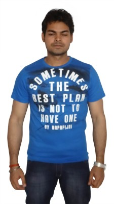 Burnout Printed Men's Round Neck Blue T-Shirt