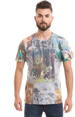 Shuffle Printed Men's Round Neck Beige T-Shirt