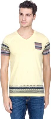 Hi Lite Printed Men's V-neck Yellow T-Shirt