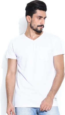 Hubberholme Solid Men's Fashion Neck White T-Shirt