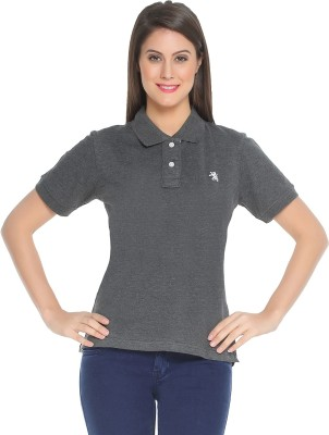 The Cotton Company Solid Women's Polo Neck T-Shirt