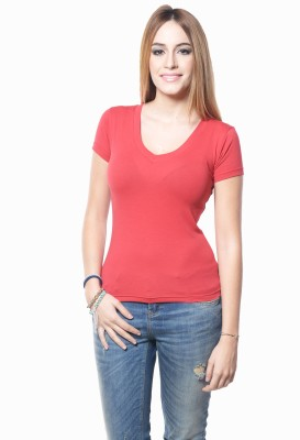 Westhreads Solid Women's V-neck Red T-Shirt
