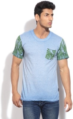Indicode Solid Men's Round Neck Blue T-Shirt