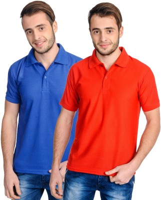 Superjoy Solid Men's Polo Neck Blue, Red T-Shirt