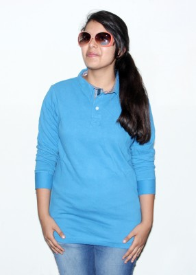 Mask Lifestyle Solid Women's Polo Blue T-Shirt